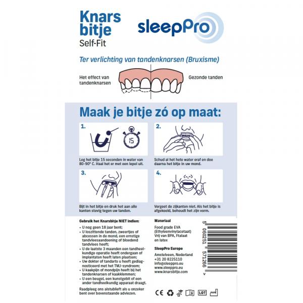 SleepPro Knarsbitje Self-Fit handleiding